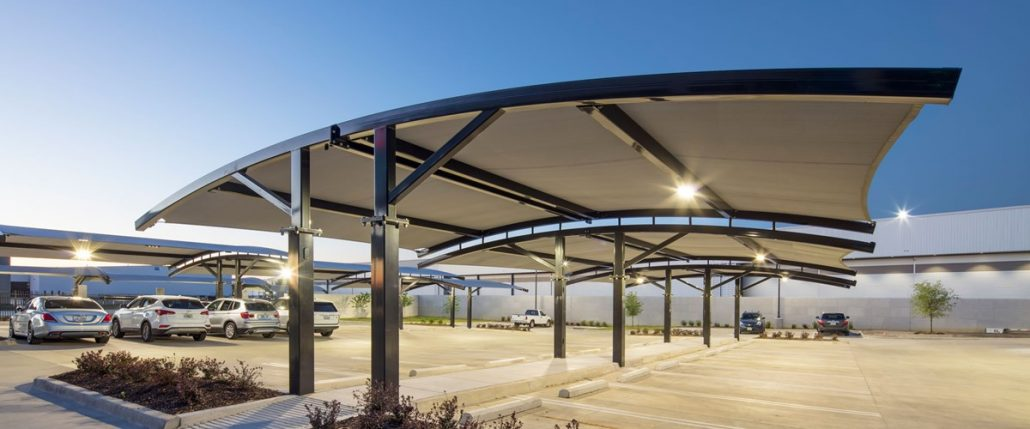Different VPS Shades for Different Needs & Parking Lot Shade Structures | Parking Lot Canopy - PlayPower Canada