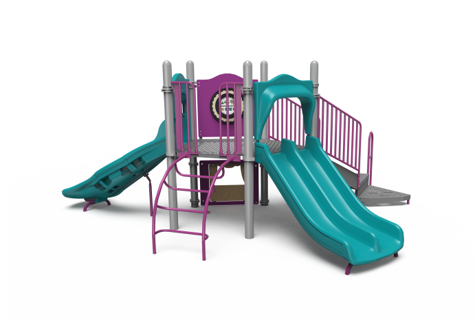 Teal and lavender Little Tikes Commercial playground structure