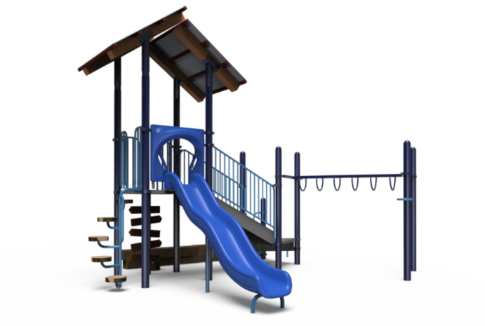 Little Tikes Commercial blue, grey and brown playground structure