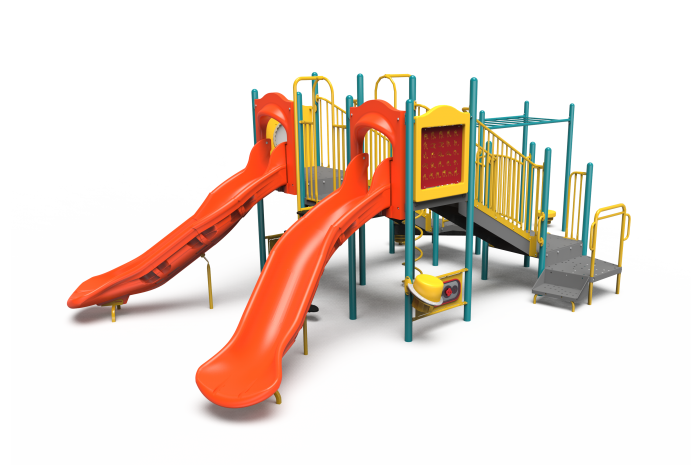 Orange, yellow and teal Little Tikes Commercial playground structure